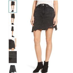 BLANKNYC High Rise Asymmetrical Denim Skirt